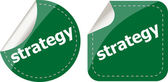 Strategy word on stickers button set, label — Stock Photo