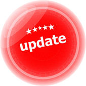Update on red rubber stamp over a white background — Stock Photo