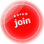 Join red rubber stamp over a white background — Stock Photo
