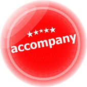 Accompany red stickers on white, icon button — Stock Photo