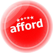 Afford word red stickers, icon button isolated on white — Stock Photo