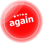 Again word on red stickers button, label — Stock Photo