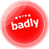 Badly word on red stickers button, label — Stock Photo