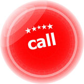 Call word stickers red button, web icon button — Stock Photo