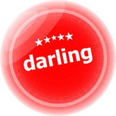 Darling word red web button, label, icon — 图库照片