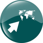 Arrow sign icon with world map sign. Arrows symbol. Icon for App. Web button — Stock Photo