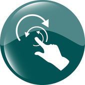 Hand and abstract arrow web app button, web icon — Stock Photo