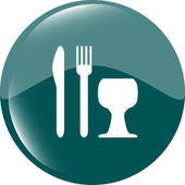 Eat sign icon. Cutlery symbol. Knife, fork and wineglass. Modern UI website button — Stock Photo