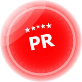 Pr word on red stickers, icon button — Stock Photo