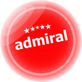 Admirál slovo červený samolepky, ikony tlačítko, obchodní koncept — Stock fotografie