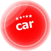 Car word stickers red button, web icon button — Photo