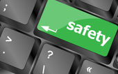 Safety first concept with key on computer keyboard — Foto Stock