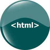 Html 5 sign icon. Programming language symbol. Circles buttons — Stock Photo