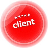 Client on red rubber stamp over a white background — Stock Photo