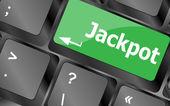 Chave em um teclado de computador com o jackpot de palavras — Foto Stock