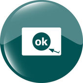 Ok word on sign web icon. web button — Stock Photo