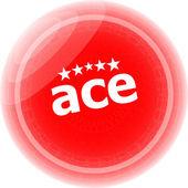 ás etiquetas vermelhas, botão de ícone isolado no branco — Foto Stock