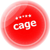 Cage word stickers red button, web icon button — Stock Photo