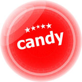 Candy word stickers red button, web icon button — Stockfoto