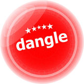 Dangle word on red web button, label, icon — Stock Photo