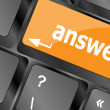 Get answers concept on the modern keyboard keys — Stock Photo
