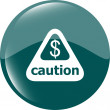 Attention caution sign icon with dollars money sign. warning symbol — Stock Photo