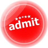 Admit word red stickers, icon button, business concept — Stock Photo