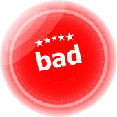 Bad word on red stickers button, label — Stock Photo