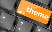 Theme button on computer keyboard keys, business concept — Zdjęcie stockowe
