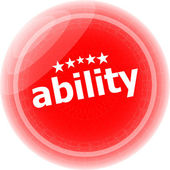 Ability word stickers icon button isolated on white — Stock Photo