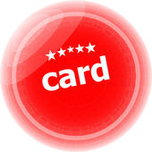Card word stickers red button, web icon button — Stock Photo