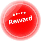 Reward red rubber stamp over a white background — Foto Stock