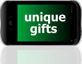 Digital smartphone with unique gifts words, holiday concept — Foto de Stock