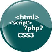 Code sign icon. Programming language symbol. Circles buttons — Stock Photo