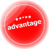 Advantage word red stickers, icon button — Stock Photo