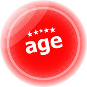 Age word on red stickers button, label — Стоковое фото