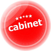 Cabinet word stickers red button, web icon button — Стоковое фото