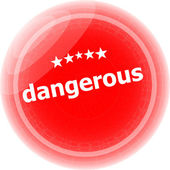 Dangerous word on red web button, label, icon — Stock Photo