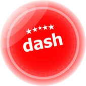 Dash word red web button, label, icon — Stock Photo