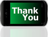 Smart phone with thank you word — Stock Photo