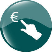 Currency exchange icons, euro money sign and people hand — Stock Photo