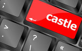 Modern computer keyboards enter keys with castle word — Stock Photo