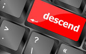 Descend button on computer pc keyboard key — Stockfoto