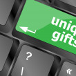 Unique gifts, events button on the keyboard keys - holiday concept — Stock Photo