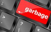 Garbage word on computer pc keyboard key — Stock Photo