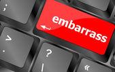 Verlegenheid woord op computer pc toets op het toetsenbord — Stockfoto