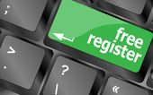 Registrati gratis tasto di computer con accesso internet — Foto Stock