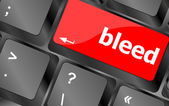 Bleed word on keyboard key, notebook computer button — Stock Photo
