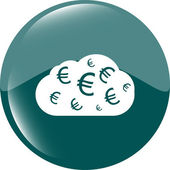 Web icon cloud with euro sign, web button isolated on white — Stock Photo