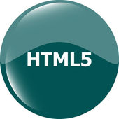 Html 5 sign icon. Programming language symbol. Circles buttons — Stock Photo